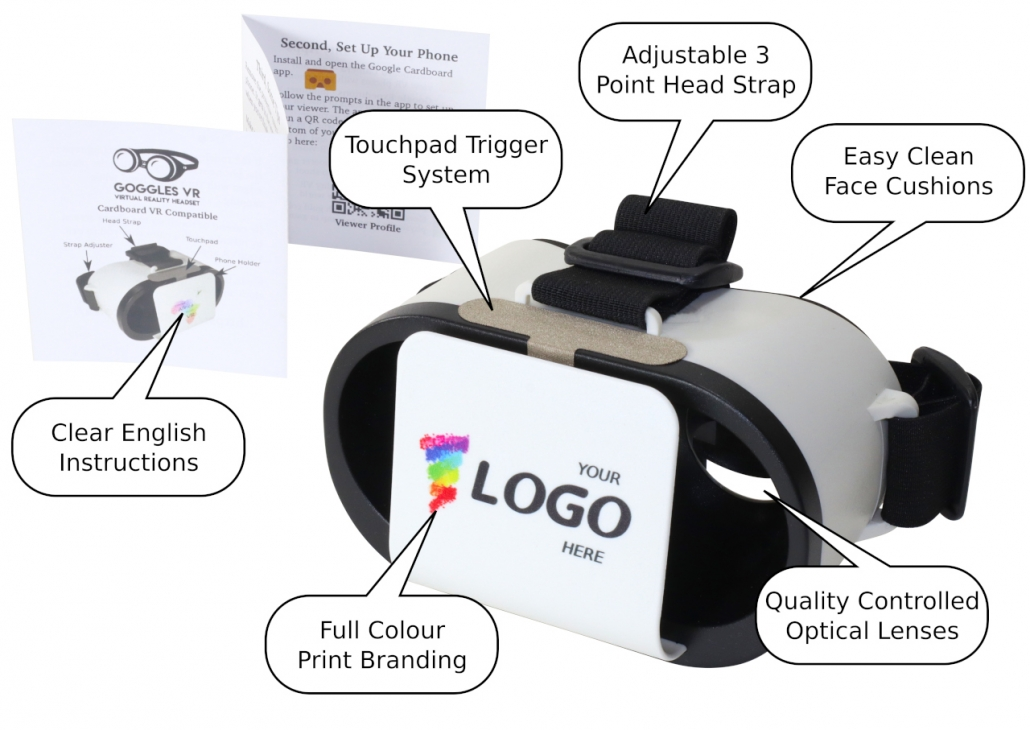 Branded Goggles VR features